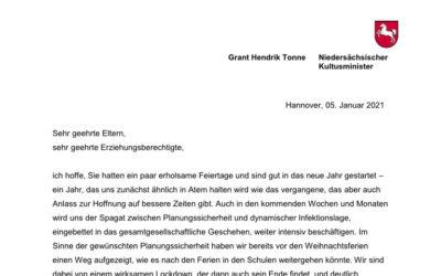 Brief des Kultusministeriums zum Schulstart